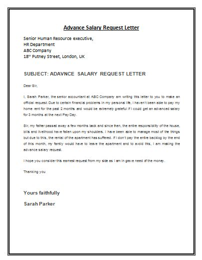 Sample Advance Salary Request Letter Template Archives - Payslip ...
