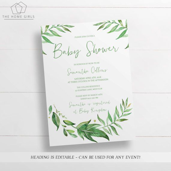 Printable Leafy Baby Shower Invitation Editable Template