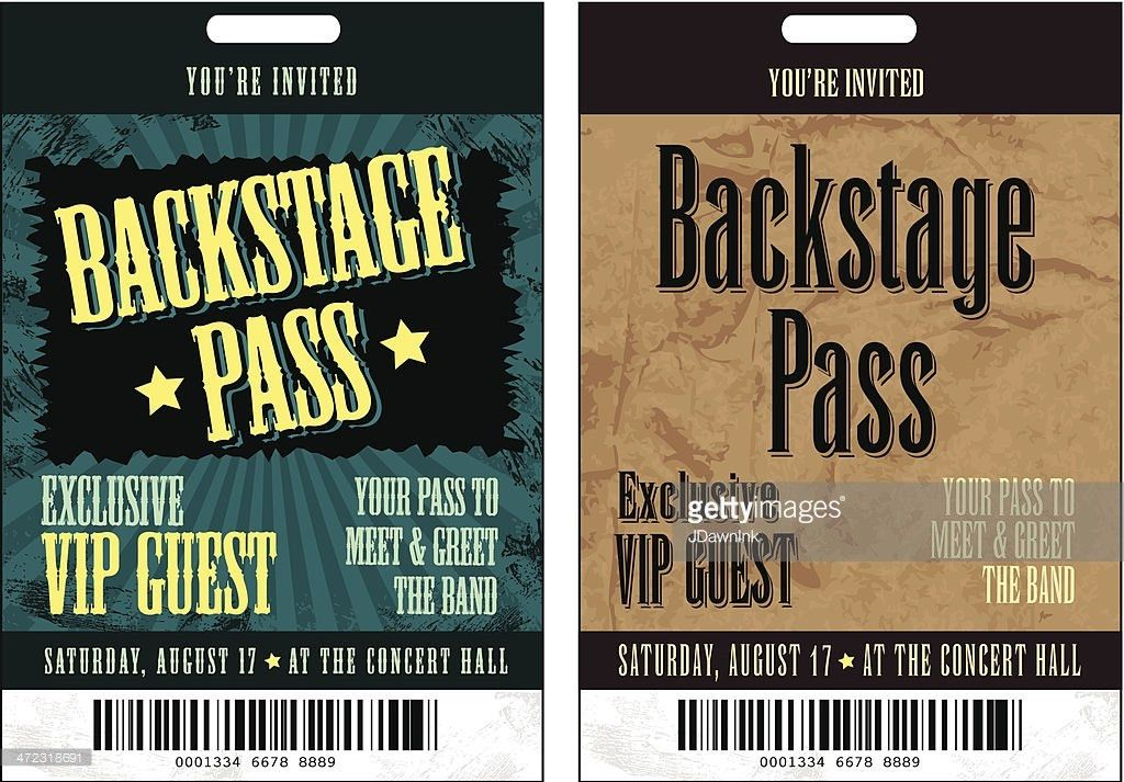 Set Of Two Black And Yellow Backstage Pass Template Designs Vector ...