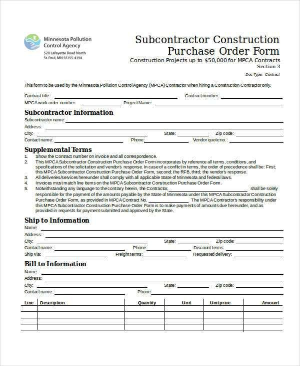 Construction Work Order Form. Order Form Custom Order Form ...