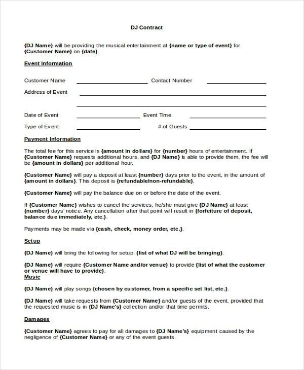 sample dj contract form 8 free documents in pdf doc - Free Dj Contract Template