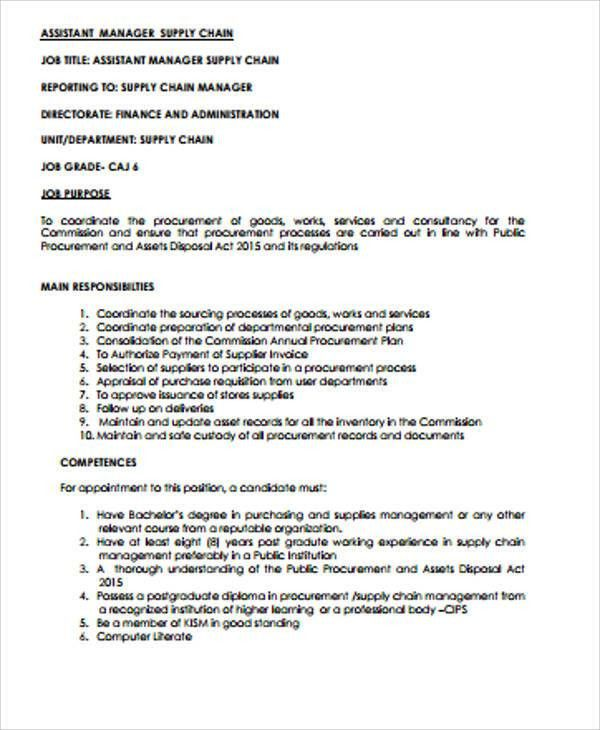 Supply Chain Management Job Description Sample   7+ Examples In .
