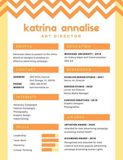 Yellow Orange Chevron Colorful Resume - Templates by Canva