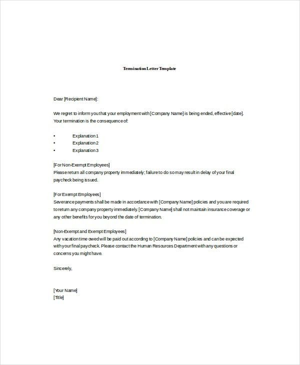 11+ Termination Letter Templates - Free Sample, Example, Format ...
