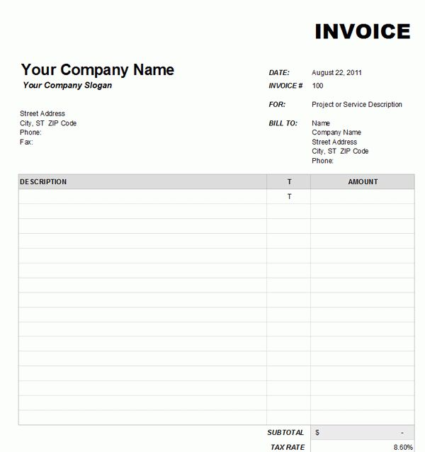 Blank Invoice Excel | free to do list