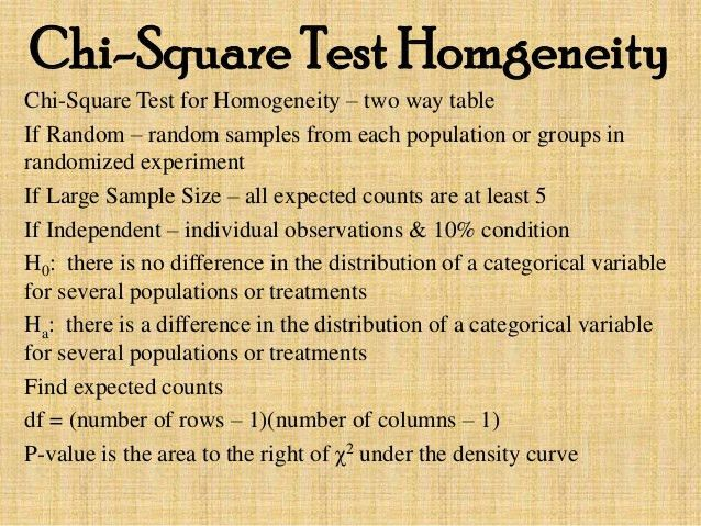 Chi square test for homgeneity