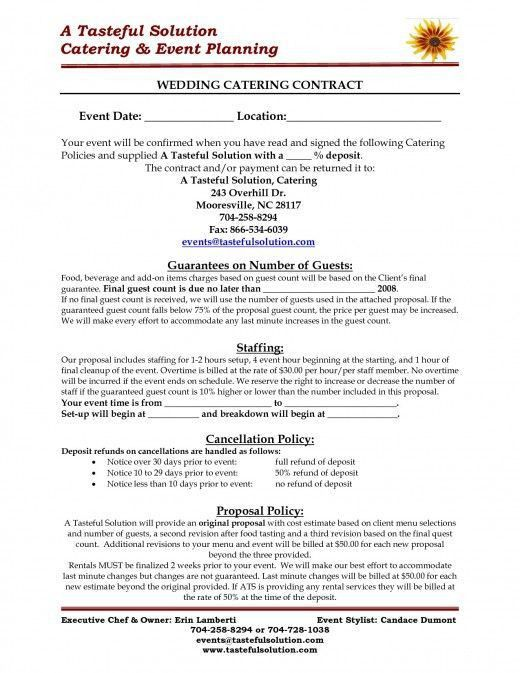 Reception Catering Contract PDF Free Download | Catering Templates ...
