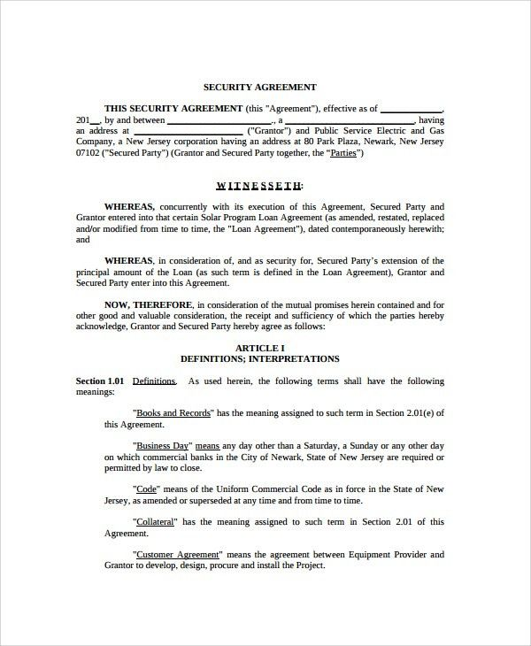 Sample Commercial Security Agreement Template - 8+ Free Documents ...