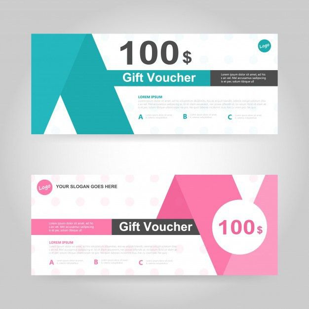 Green and pink gift voucher template Vector | Free Download