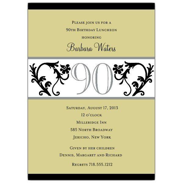 90th Birthday Invitation Wording | 90th birthday invitations, 90 ...