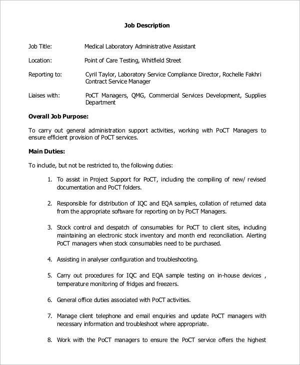 Sample Medical Assistant Job Description - 8+ Examples in PDF