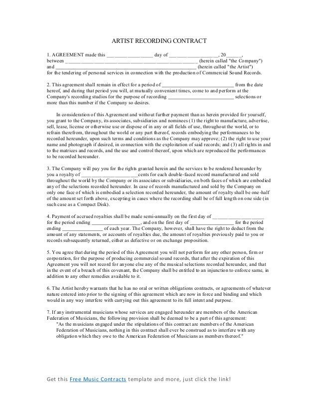 Music Contract Template. 15 Artist Recording Contract Wedding ...