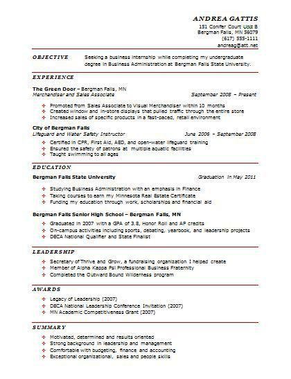 resume template examples of one page resumes 2 sample free format ...