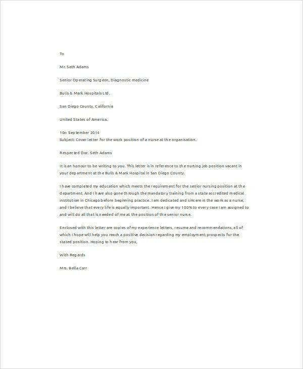 10+ Job Application Letters For Nurse - Free Sample, Example ...