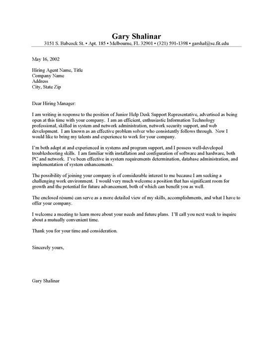 Sample Entry Level Cover Letter Template. Cover Letter Example 1 .