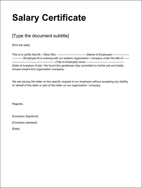 Doc.#12751650: Salary Certificate Format Download – 21 Free Salary ...
