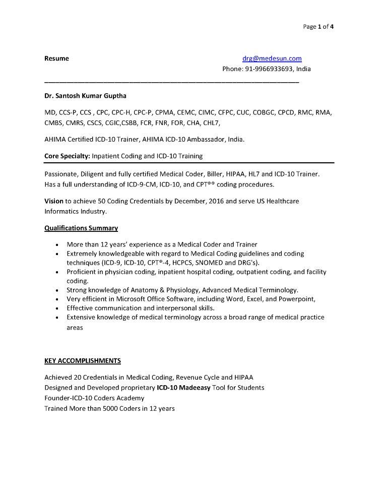 resume for medical coder