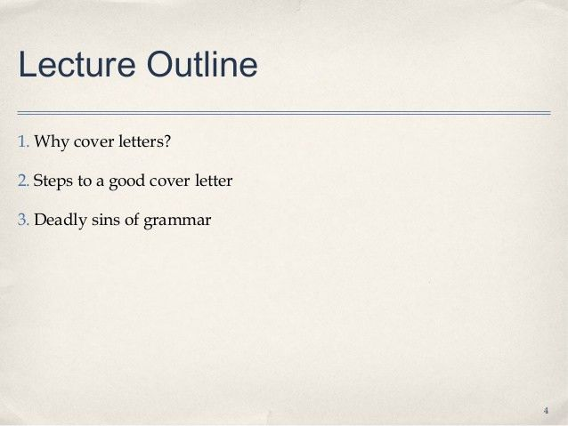 Lecture 3.1 how to write a cover letter student notes