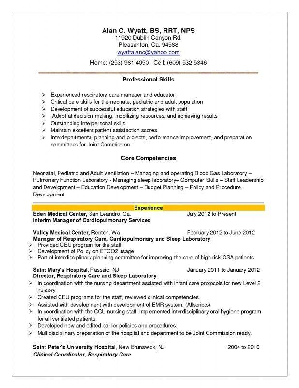 Respiratory Therapist Resume Cover Letter - resume for respiratory therapist