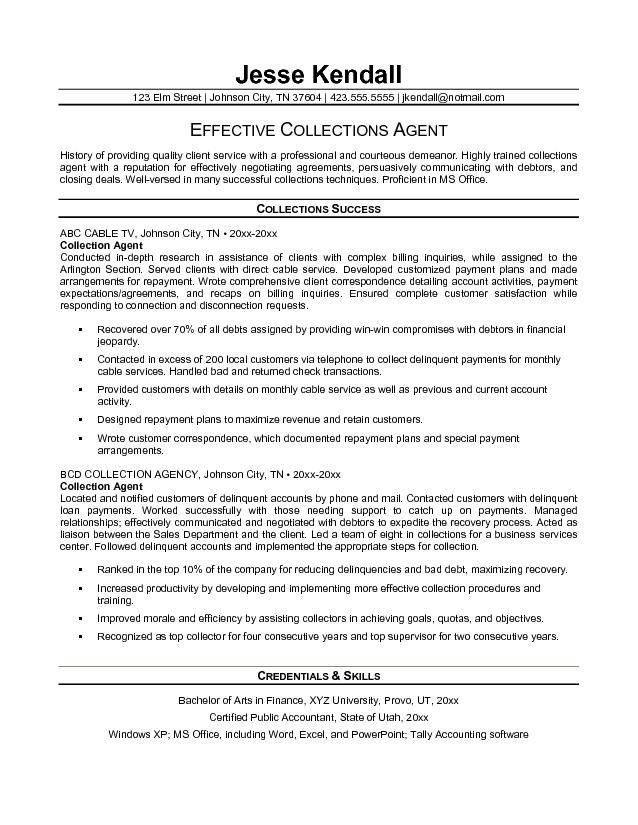Free Collection Agent Resume Example