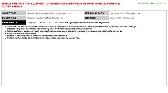Fire Fighting Equipment Maintenance Supervisor Resume Sample