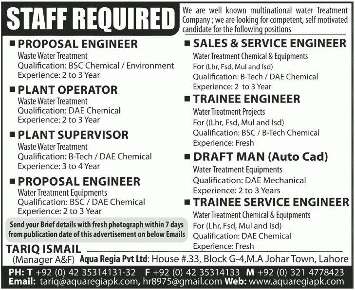 Trainee Service Engineer Job, Aqua Regia Pvt Ltd Job, Proposal ...