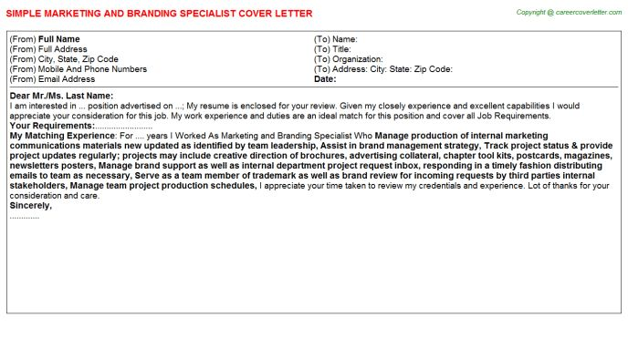 Marketing And Branding Specialist Cover Letter