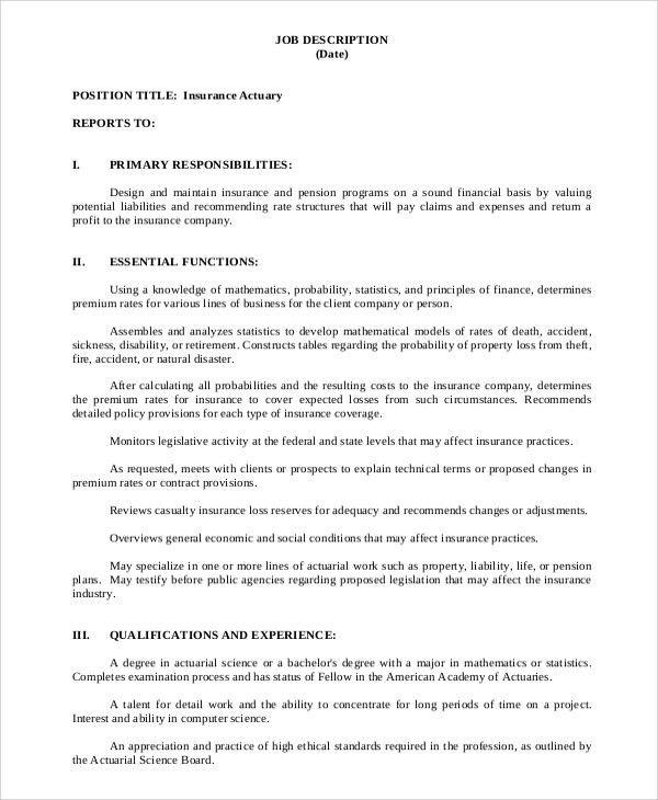 Sample Actuary Job Description - 8+ Examples in PDF