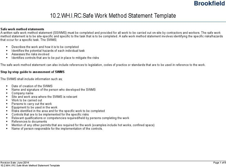 Free Safe Work Method Statement Template - FormXls