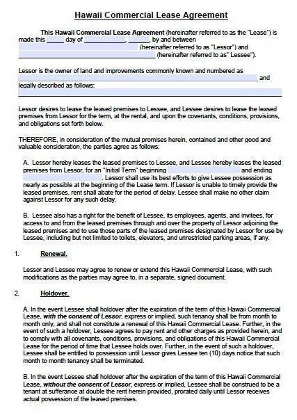 Free Hawaii Commercial Lease Agreement Template – PDF – Word