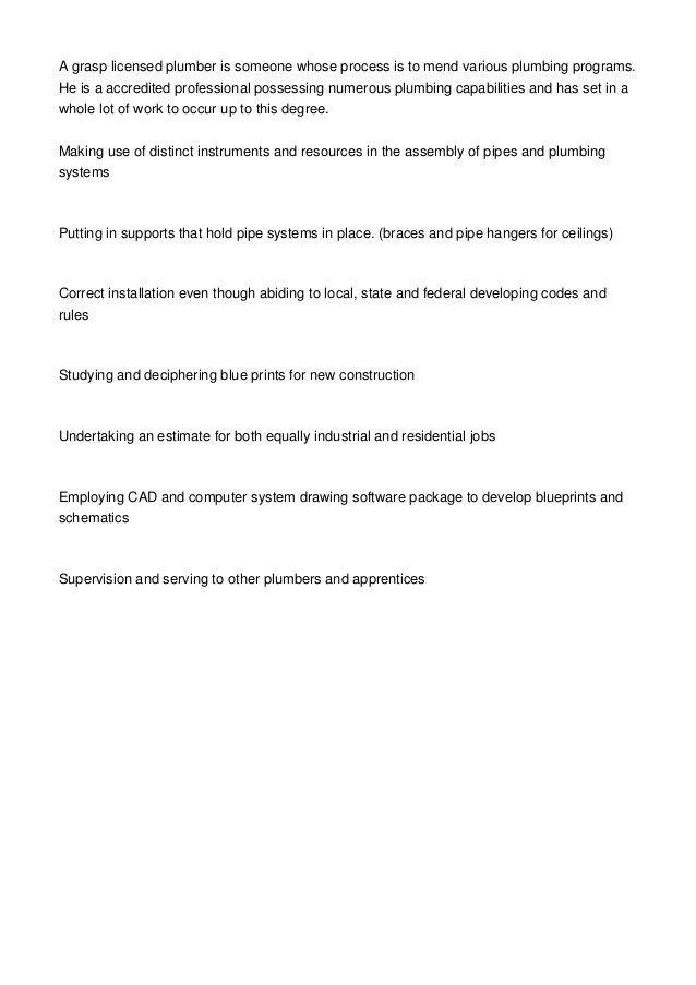 Plumber Job Description For Potential Plumbing Apprentices