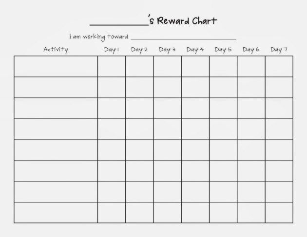Weekly Reward Chart Blank Template for Children : Helloalive
