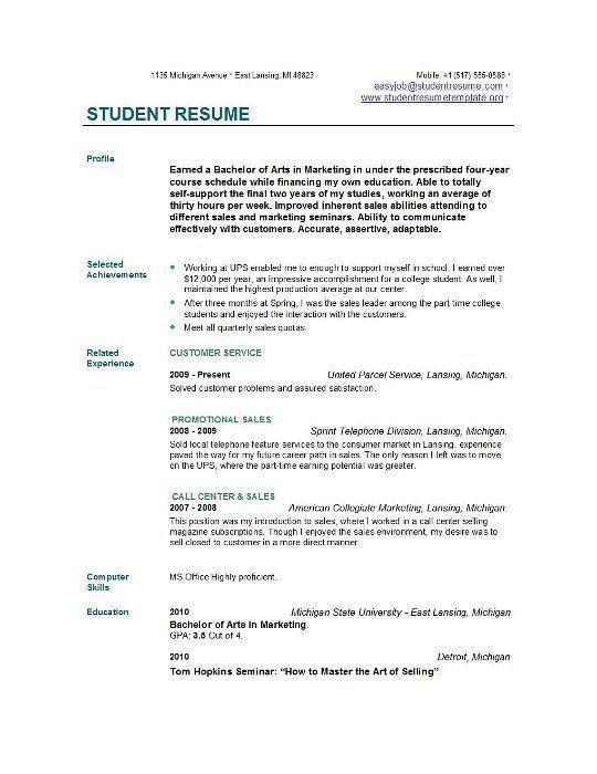 Strikingly Ideas College Student Resume Templates Microsoft Word ...