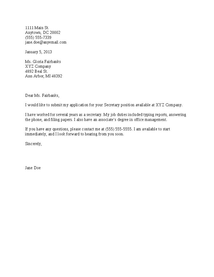 Simple Sample Cover Letter For Job Application Pdf | Docoments ...