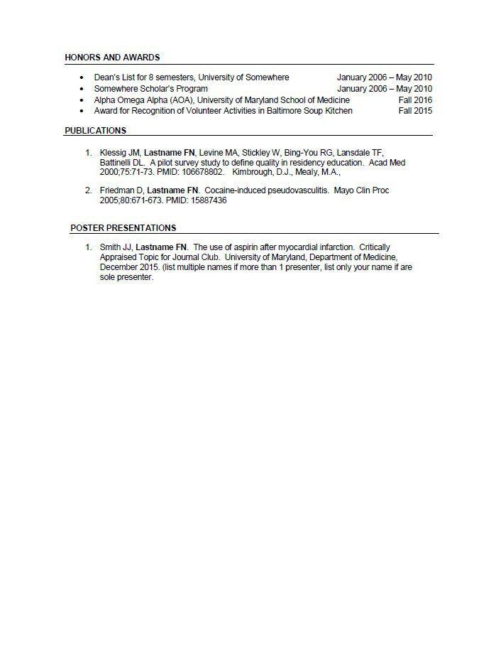 CV Preparation Tips | University of Maryland School of Medicine