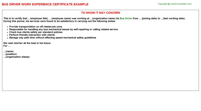 Bus Driver Work Experience Certificate