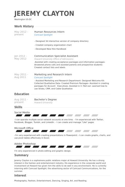 Human Resources Intern Resume samples - VisualCV resume samples ...