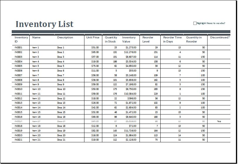 Excel Inventory sheets Templates | Excel Templates
