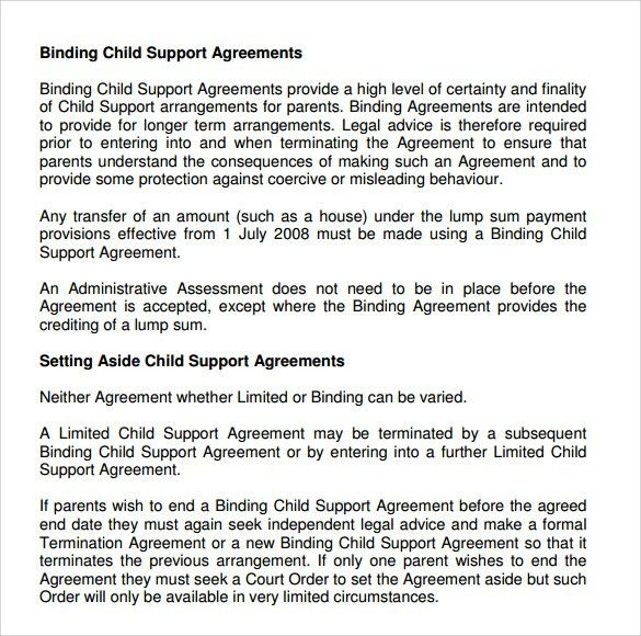 Sample Child Support Agreement. Mutual Agreement Contract Template ...