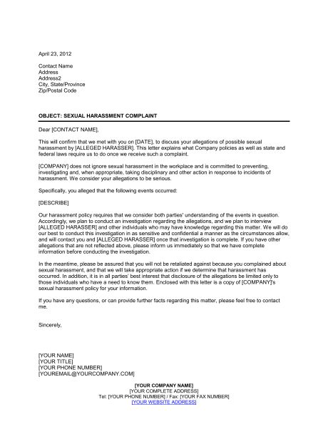 Letter to Sexual Harassment Complainant - Template & Sample Form ...