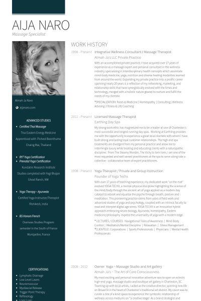 Massage Therapist Resume samples - VisualCV resume samples database