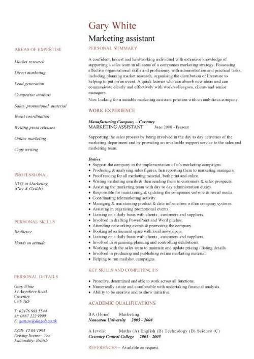 Excellent Marketing Assistant Job Description For Resume 28 About ...
