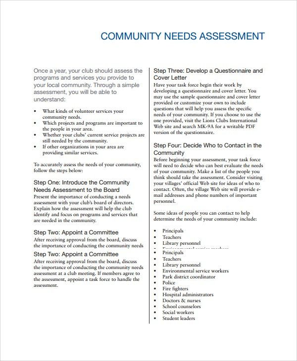 Sample Need Assessment - 9+ Documents in Word, PDF