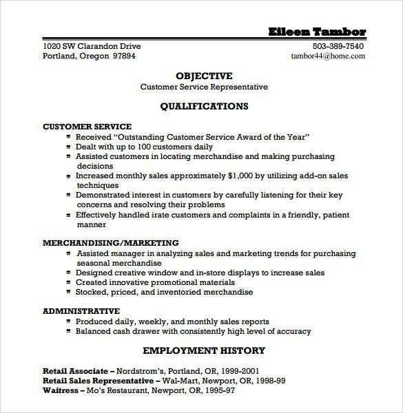 Resume Templates Customer Service