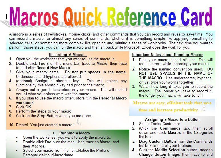 Macro Quick Start Guide | Macros Microsoft Excel