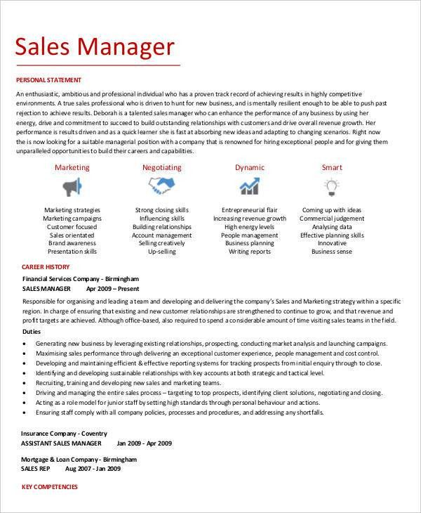 Sales Manager Resume Examples, company resume examples ...