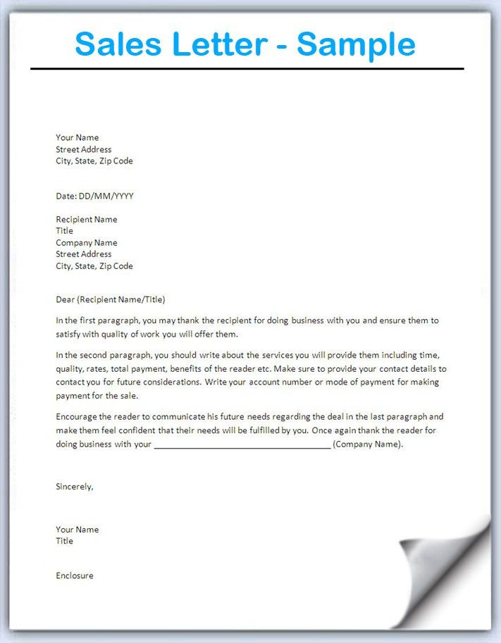 Sales Letter Template - Writing Professional Letters