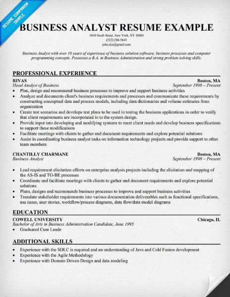 Business Analyst Resume Format - http://getresumetemplate.info ...