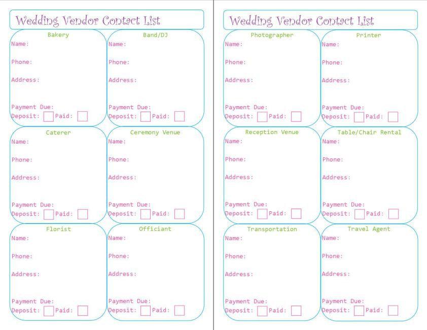 Free Printable Wedding Vendor Contact List – Peanut and Jellybean