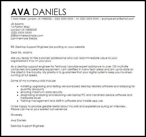 Desktop Support Engineer Cover Letter Sample | LiveCareer